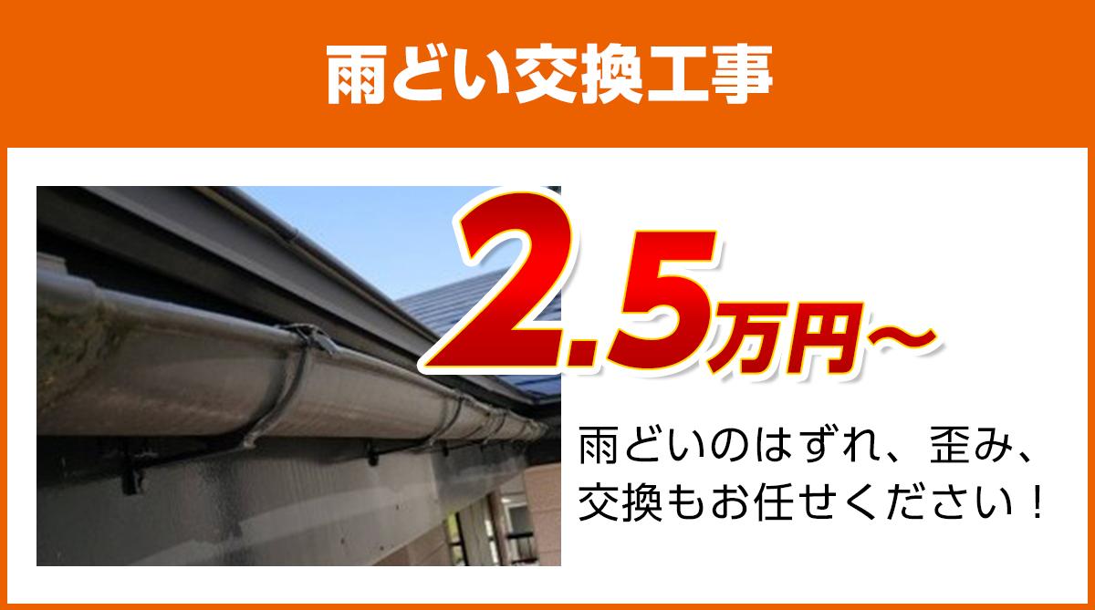 岡山の雨どい交換工事料金 樹脂製、高耐久雨どい