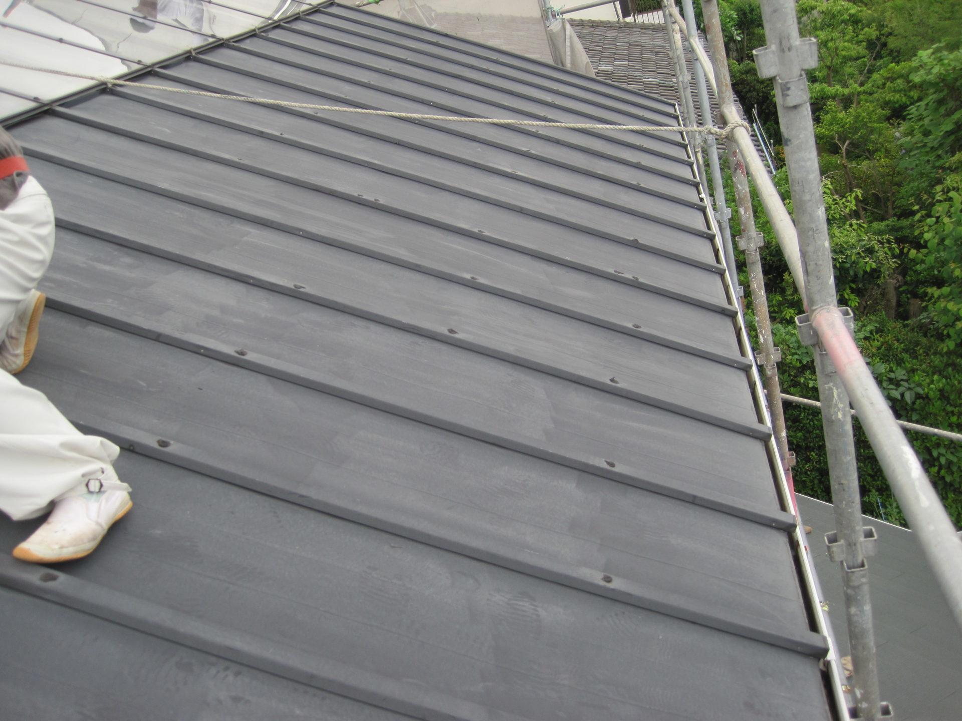 岡山県岡山市 瓦棒屋根塗装 既存屋根の写真
